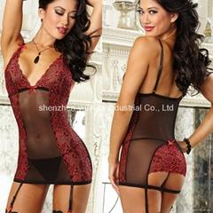 Fashion Sexy Lingerie Womens Underwear Red Teddy Nightwear Sleepwear+G-string