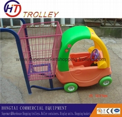 supermarket  children pushing shopping  trolley  with toy car