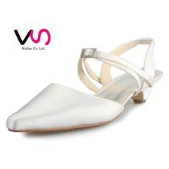 pointed toe low heel bridal shoe