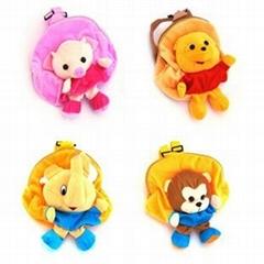 Soft plush animal backpack toy kids bag