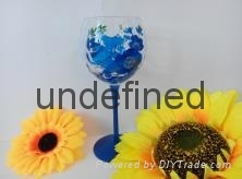 人工彩绘田园风格红酒杯