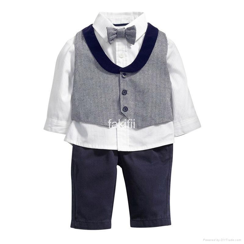 Autumn fashion boy grey clothes set 1