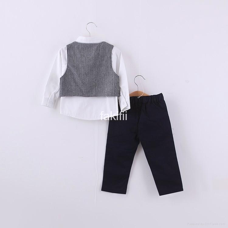 Autumn fashion boy grey clothes set 2