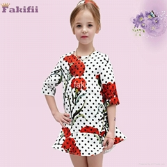 wholesale winter girl flower dress