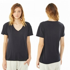Ladies short sleeve V neck t shirts cheap blouse
