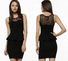 Ladies black lace beautiful short prom dresses