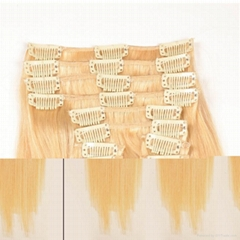 Unprocessed 100g 10 Pieces 8 Inch Clip-in Human Hair Extensions,One Piece Full H