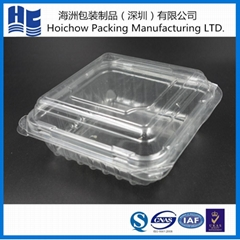 Blister disposable plastic food tray with clear lid for wholesale