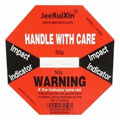 50g防震标签进出口设备运输监测指示变色标签