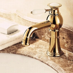 Luxury European Style Golden Shot One Hole One Ceramic Handle Bathroom Sink Fauc