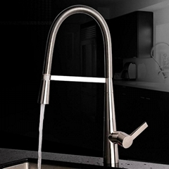 Contemporary Pullout Spray Chrome Finish Brass One Hole Single Handle Kitchen Fa