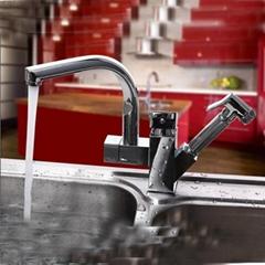 Centerset Contemporary Two Spouts Pullout Kitchen Faucet(Chrome Finish)