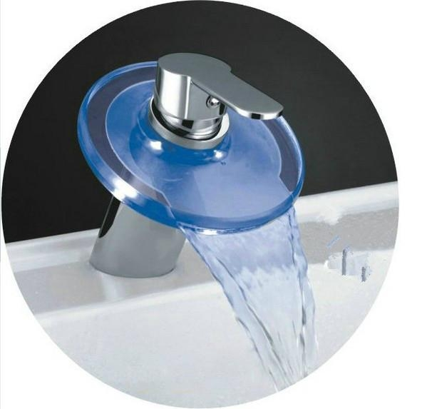 Single Handle Color Changing Led Waterfall Bathroom Sink Faucet With Glass Spout Ledy Phasat