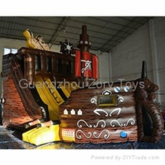 durable inflatable pirate ship for kids