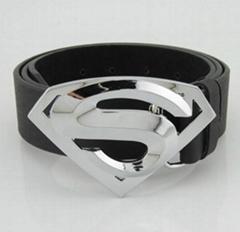 Classic New Silver Superman Superhero Western Mens Metal Belt Buckle Leather