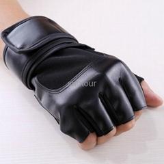 真皮騎行手套舉重訓練啞鈴半指手套