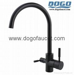 Double Handle Tri-Flow kitchen faucet Brass material