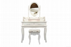 White Wooden Dressing Table and Stool