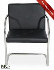 Imported Black Italian LeatherMLF® Brno Tubular Chair
