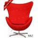 MLF Arne Jacobsen Egg Chair/Ottoman withWool Fabric, Fiberglass, Aluminum, Foam