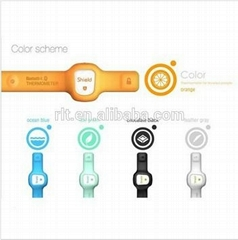 Silica gel watch with thermometer and compass support Smart phone Apps bluetooth