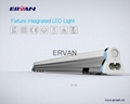 TUV Listed ERVAN LED T5 Tube Fixture Integrated 150cm 30w
