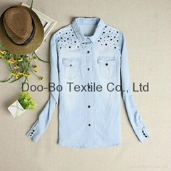 jeans wear long sleeves jeans shirt for wholesale high quality