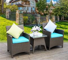 戶外傢具藤椅組合五件套藤編桌椅休閑陽台仿藤餐桌椅庭院花園桌椅