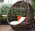 庭院花園鳥巢藤椅懶人沙發露天陽台休閑編藤蛋形躺椅床 2