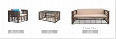 户外藤编沙发庭院会所粗藤沙发室外休闲仿藤茶几组合家具