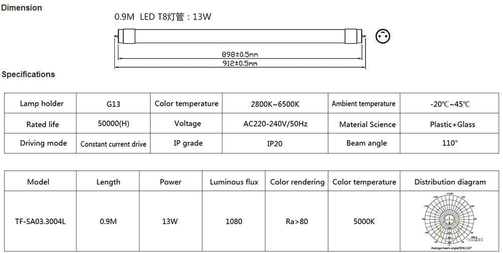 外置电源18W无频闪LED T8灯管1.2米(0.6米, 0.9米可选) 3
