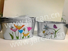 metal tin garden flower plant pot for kids