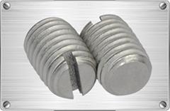 Titanium slotted set screw for chemical