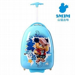 Blue Shanmao Oval Shape Kids Trolley Case Lightweight Childrens Sui