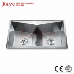304S.S Handmade sink double bowl 1.2s.s thickness JY-8245L