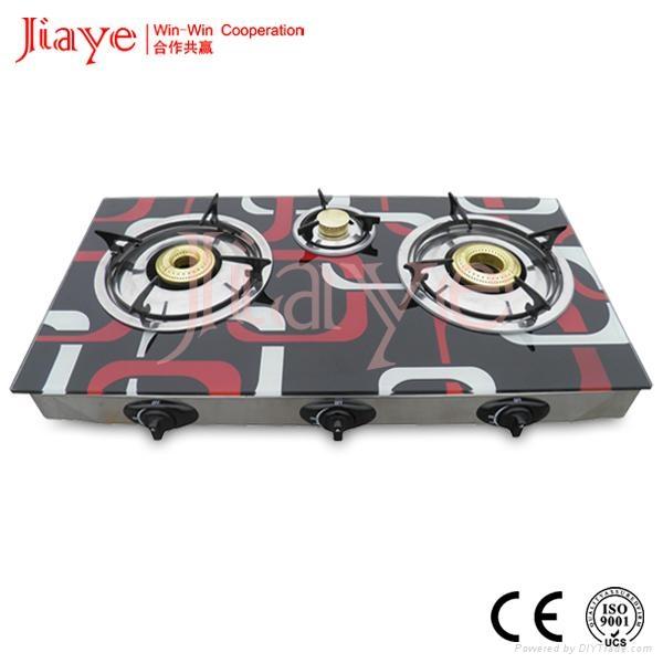 color printed glass top high quality big burner gas stove JY-TG3016 1
