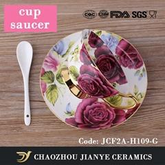 Hot Sale Gold Rim Bone China Gift Tea cup Set with Peony pattern