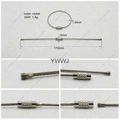 110mm Stainless steel wire keychain cable key ring for outdoor
