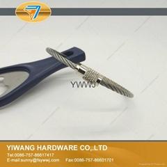 Wholesale Stainless Steel Wire Keychain Twist Screw Locking