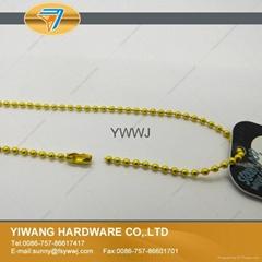 彩色金属珠链 吊牌线 吊牌绳 挂商标吊牌 手穿子母扣 黄色
