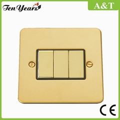 3 Gang 2 Way Light Switch with Black Insert