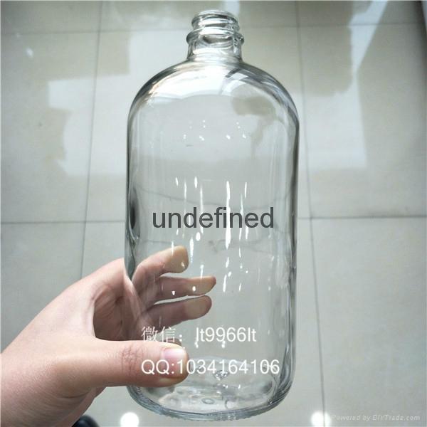 1000毫升28口透明波斯頓玻璃瓶 1