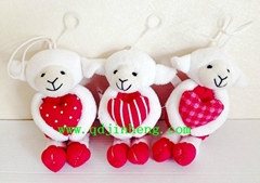 hanging stuffed sheep with heart for valentine's day