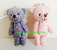 10cm stuffed bear with keyring and flax material with white dot