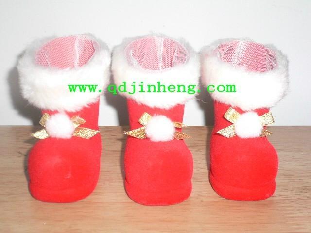 5cm植絨塑料聖誕靴子飾品 1