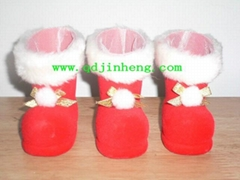 5cm植絨塑料聖誕靴子飾品