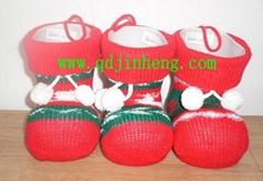 14CM塑料聖誕靴子配針織套經典版