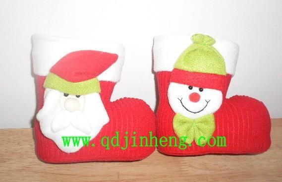 紅色植絨聖誕靴子配動物頭裝飾品 1