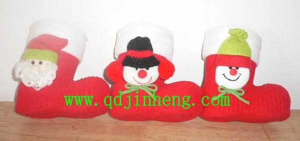 plastic boots with red cloth outer and animal head