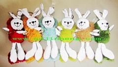 15CM彩色反光面料填充兔子